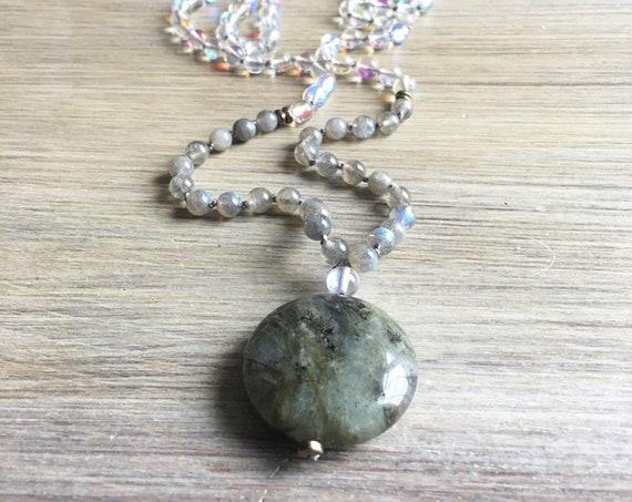 Labradorite Opalite Mala Beads, 108 Mala, Gemstone, Handmade, Hand-knotted, Meditation, Yoga, Prayer Beads, Chakra, Healing