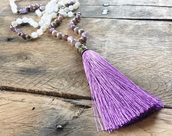 Sage Amethyst Moonstone Tassel Mala Beads, 108 Mala, Gemstone, Handmade, Hand-knotted, Meditation, Yoga, Prayer Beads, Chakra