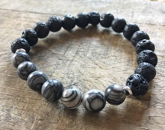 Lava Vein Mesh Jasper Bracelet, Essential Oil, Aromatherapy, Yoga Bracelet, Meditation, Chakra Healing, Stretch Cord