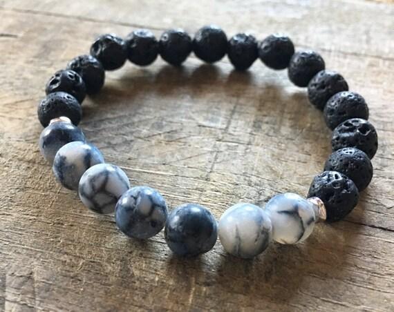 Lava Cracked Agate Bracelet, Essential Oil, Aromatherapy, Yoga Bracelet, Meditation, Chakra Healing, Stretch Cord