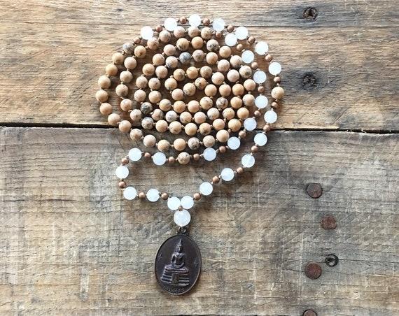 White Jade Grainstone Thai Amulet Mala, 108 Mala, Gemstone, Handmade, Hand-knotted, Meditation, Yoga, Chakra Healing
