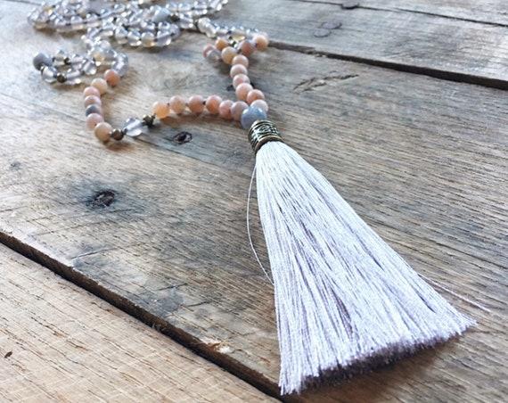 Pink Moonstone Grey Agate Tassel Mala Beads, 108 Mala, Gemstone, Handmade, Hand-knotted, Meditation, Yoga, Prayer Beads, Chakra