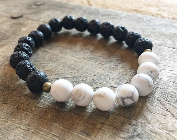 Lava Howlite Bracelet, Essential Oil, Aromatherapy, Yoga Bracelet, Meditation, Chakra Healing, Stretch Cord