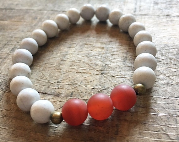 Feldspar Carnelian Bracelet, Yoga Bracelet, Meditation, Chakra Healing, Stretch Cord
