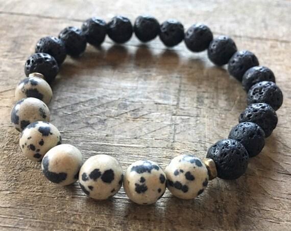 Lava Dalmatian Jasper Bracelet, Essential Oil, Aromatherapy, Yoga Bracelet, Meditation, Chakra Healing, Stretch Cord