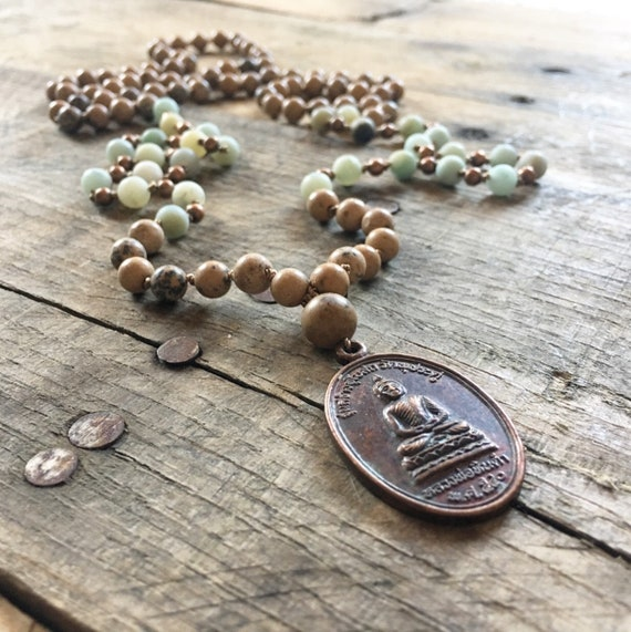 Amazonite Grainstone Thai Amulet Mala, 108 Mala, Gemstone, Handmade, Hand-knotted, Meditation, Yoga, Chakra Healing