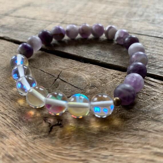 Frosted Amethyst Opalite Bracelet, Yoga Bracelet, Meditation, Chakra Healing, Stretch Cord