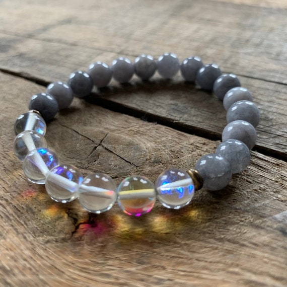 Grey Jade Opalite Bracelet, Yoga Bracelet, Meditation, Chakra Healing, Stretch Cord