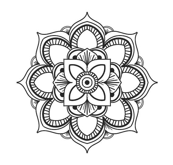 Mandala Coloring Card, Mandala Meditation, Digital Download, Printable Download, Instant Download, Digital File