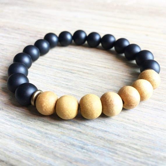 Onyx Sandalwood Bracelet, Yoga Bracelet, Meditation, Chakra Healing, Stretch Cord