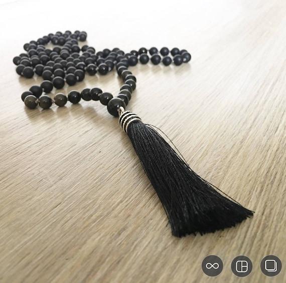 Obsidian Onyx Tassel Mala Beads, 108 Mala, Gemstone, Handmade, Hand-knotted, Meditation, Yoga, Prayer Beads, Chakra
