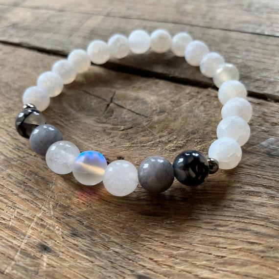 Cracked Agate, Jade Opalite Bracelet, Yoga Bracelet, Meditation, Chakra Healing, Stretch Cord