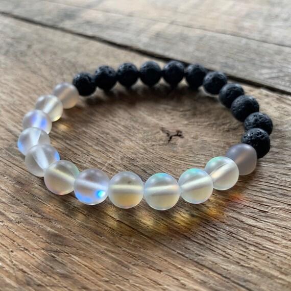 Lava Jade Opalite Bracelet, Bracelet, Yoga Bracelet, Meditation, Chakra Healing, Stretch Cord