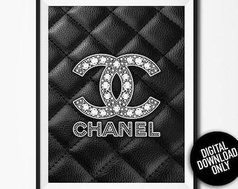 Silver print, Fashion print, Coco Chanel, Fashion Logo, Chanel decor, Leather Chanel Logo, Chanel poster, 31 rue Cambon, Living room decor
