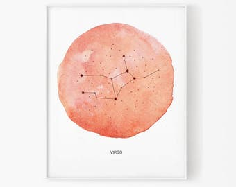 zodiac, virgo, virgo watercolor, virgo constellation, constellation, stars, star, virgo digital, zodiac constellation, zodiac print