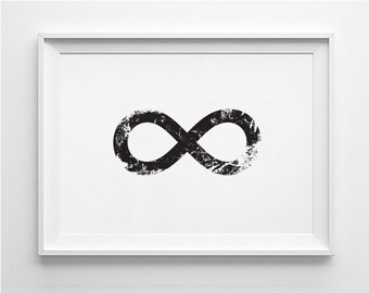 Infinity printable, infinity download, digital infinity, black and white, printable art, infinity art, grunge, simple, minimalistic, modern