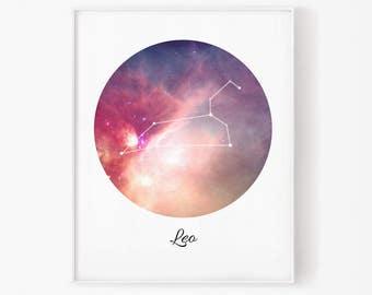 Zodiac Leo, Leo space, Space, Stars, Leo Constellation, Leo digital, Zodiac print, Zodiac Constellation, Stars constellation, Leo digital