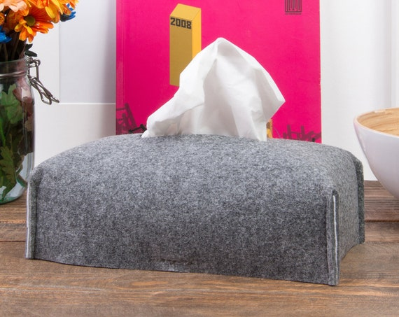 Rectangle tissue box cover, Kleenex box holder, housewarming hostess gift, felt decor