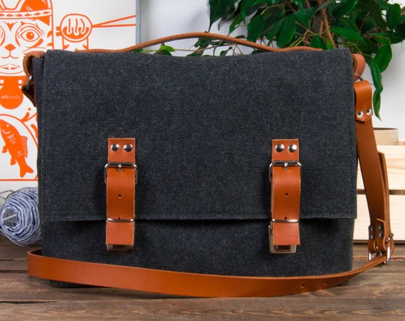 large messenger bag men, laptop bag women, Macbook pro 13 case bag, mens leather satchel, laptop case, macbook bag, felt briefcase, felt bag