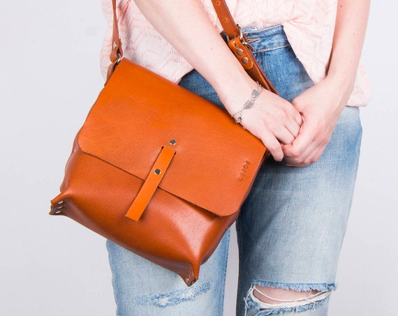 handmade leather purse, crossbody bag for women, cognac leather purse, hippie bag, small handbag, leather messenger bag, black friday sale