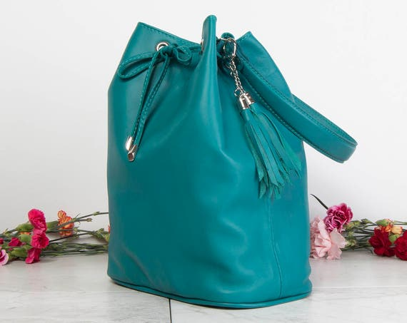Leather bucket bag, blue bucket bag, hobo bag, blue leather shoulder bag, drawstring bucket bag, summer bag women, christmas gift