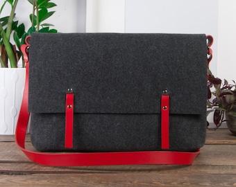laptop bag women, leather laptop bag, leather crossbody bag, macbook pro 13 case, laptop bag, computer case, leather messenger bag men, felt