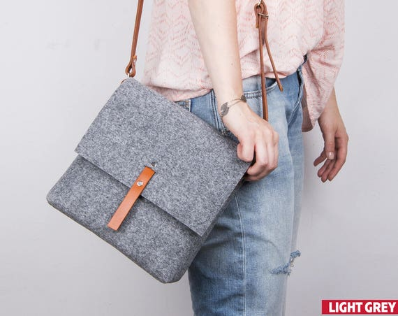 Leather messenger bag for women, handmade purse, gray crossbody bag, gifts for young women