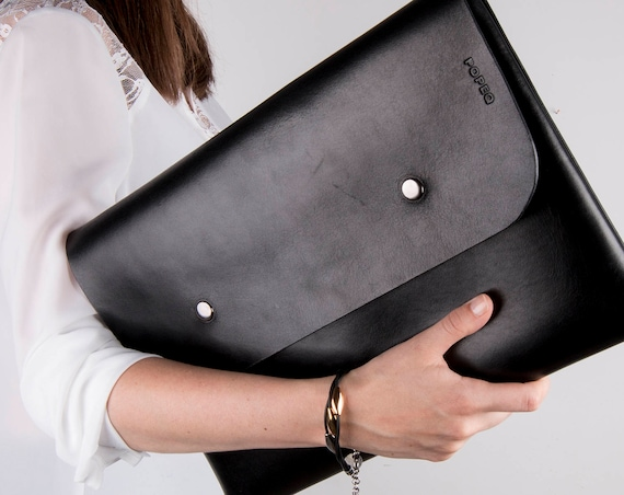black leather briefcase men, Laptop case, leather folder, macbook air 13 case, macbook air case, leather notebook case, valentine gift