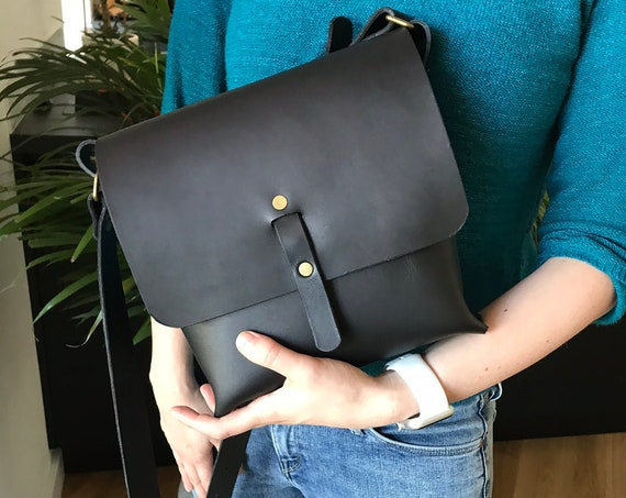 Black leather bag, crossbody bags, small leather purse, leather messenger bag, leather saddle bag, gift for women, cowhide bag, gift for her