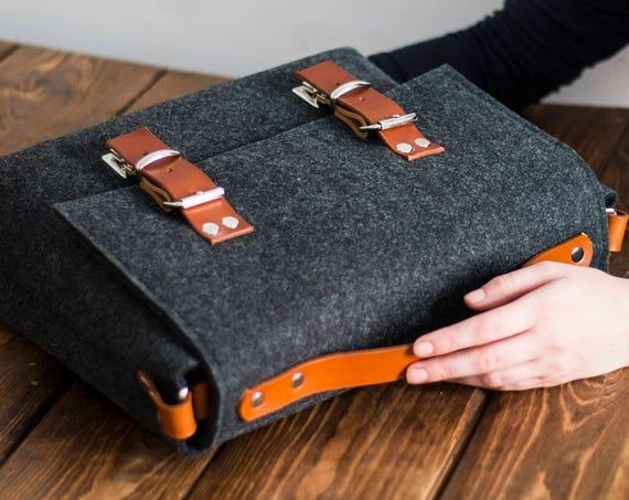 large messenger bag men, laptop bag women, Macbook pro 13 case bag, mens leather satchel, laptop case, macbook bag, felt briefcase, felt bag