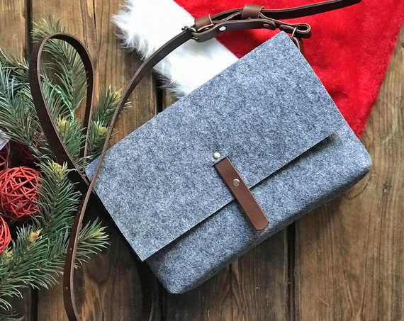 Crossbody felt purse with adjustable brown leather strap, christmas gifts sale