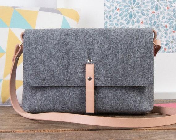Small leather crossbody bag for women, crossbody purse, felt messenger bag, fabric bag, leather purse, grey crossbody purse, hippie bag