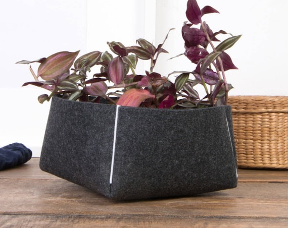 felt flower pot, small storage basket, storage box, felt bowl, kitchen decor, living room decor,  bathroom storage bowl, desk organizer