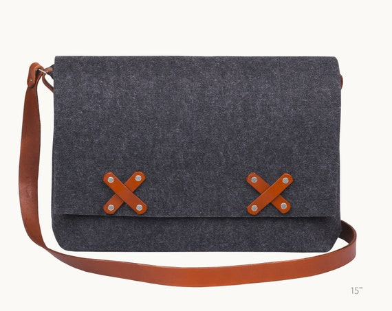 Leather Laptop bag 13 inch, felt messenger bag, felt bag, crossbody bag, macbook pro 13 case, macbook air 13 case, 15 inch laptop bag women