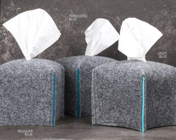 Tissue box cover square, housewarming gift, office decor, cube napkin holder, felt tissue holder, fabric tissue box, bathroom decor, gift