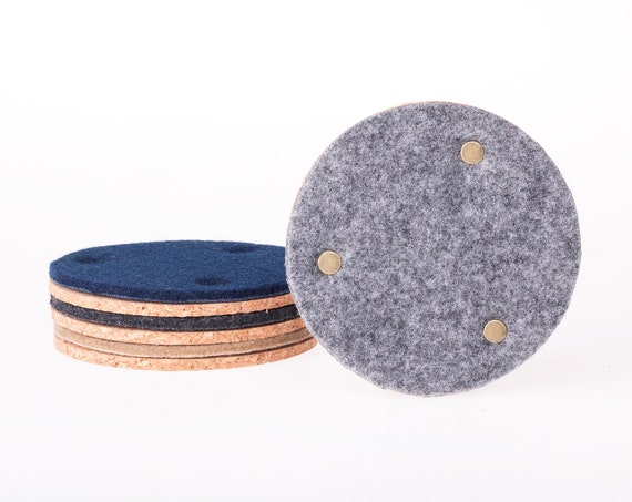 Round felt and cork coasters