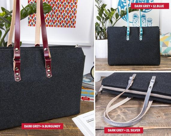 Felt purse, shoulder bag, felt bag, tote bag with leather handle, oversized leather bag, gift for her, birthday gift, handbags for women