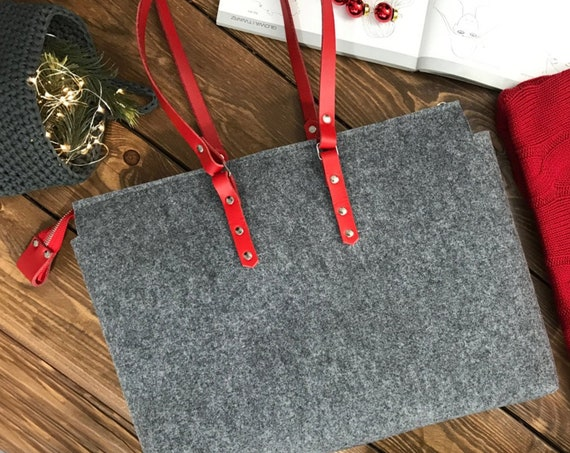 felt shoulder bag for women, red leather handbag, teacher gift, zip top tote bag, laptop bag women, custom leather purse, valentine gift