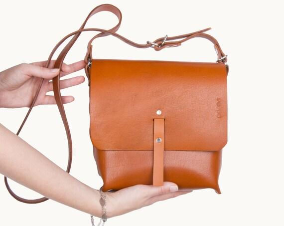 handmade leather purse, crossbody bag for women, cognac leather purse, hippie bag, small handbag, leather messenger bag, black friday sale