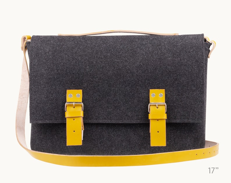 Yellow leather laptop bag leather satchel