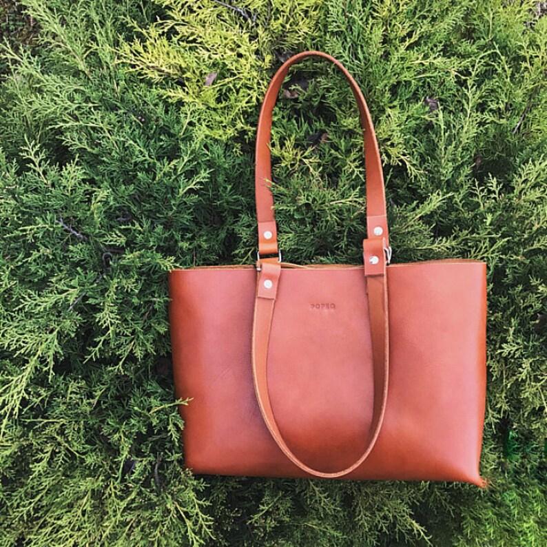 Leather bag leather handbag brown leather bag leather tote image 0