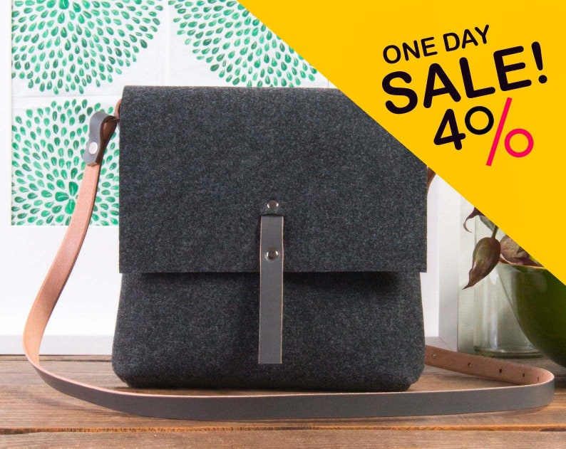 Grey crossbody felt purse Felt bag handbags purses and image 0