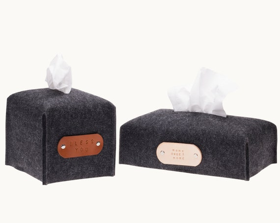 Tissue box cover, fabric tissue box cover, kleenex box holder, modern home decor, kleenex holder, felt tissue box holder, christmas gifts