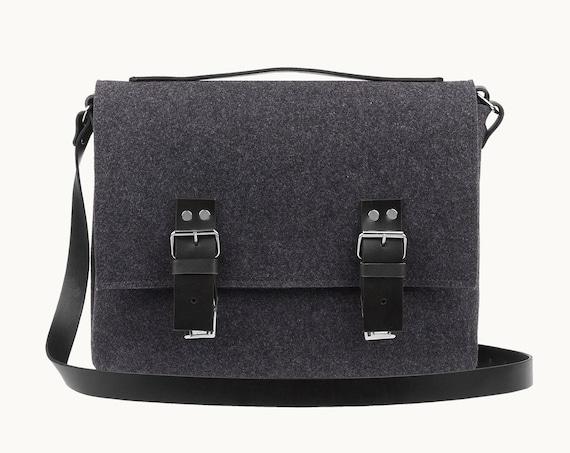 Leather satchel men, messenger bag,  macbook pro 13 case, Crossbody bags, macbook case, Felt laptop bag, Shoulder bag, black friday