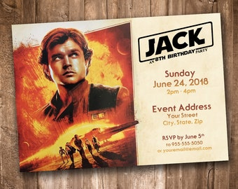 Star Wars Solo Party Invitation *Personalized Digital Printable*