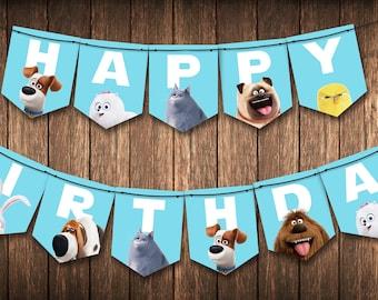 Secret Life of Pets: Happy Birthday Banner *Instant Digital Download*