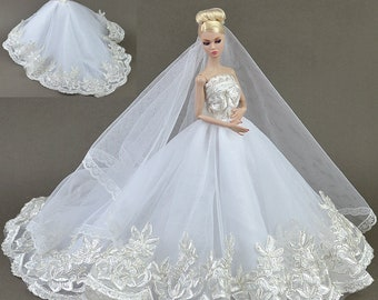 93#Bride In Long Veil Wedding Dress Set Women Girlu0027s Birthday Christmas  Gift DIY Handmade Lace Barbie Doll Dress Princess Evening Party Gown