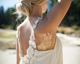 Gold Floral temporary tattoo by Myra Oh
