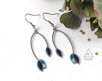 Hand-painted steel earrings - Almond candle blue Montana