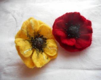 Poppy Felt flower brooch,red brooch,felted brooch,felt red jewerly,hair clip, felt pins,black red flower,felt flower,poppy hair clip, brooch